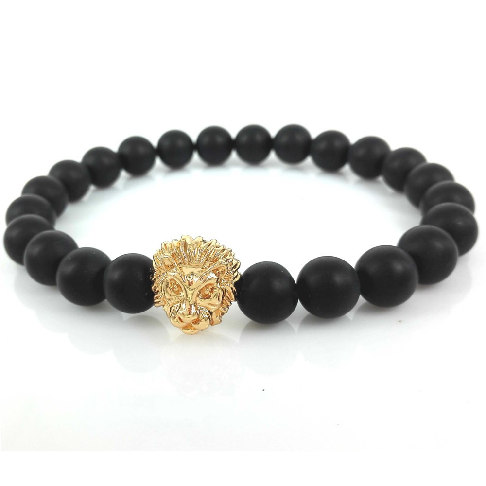 5ee68c2873 2017 Instagram Hot Mens Bracelet 8mm Black Matte Stone Beads with Lion Head  Bracelets Pulseras Gift-in Charm Bracelets from Jewelry & Accessories on ...