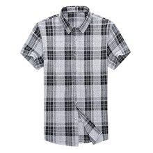 Brand Male England Plaid Shirt Summer Short Sleeve Mens Shirts Casual Slim Fit Camisa Social Masculina 4XL Plus Size Men Clothes