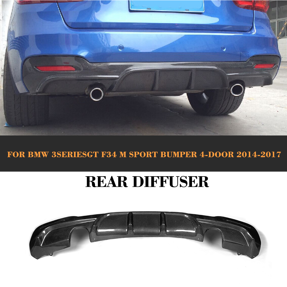 3 Series Carbon fiber Car Rear Lip Spoiler diffuser for BMW F34 GT M sport 4 Door Only 14-17 P style Car styling