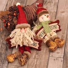 Christmas Pendant Decoration Wood Hanging Decor Santa Claus Snowman Elk 3 Pieces/lot Pendant Ornament Christmas Tree Decor