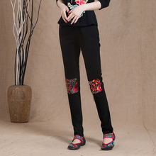 Free shipping 2016 high quality wholesale Folk style slim pencil pants show thin embroidery beautiful wholesale slacks pant sale