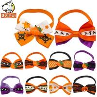 10 Pcs Halloween Festival Pet Dog Cat Bow Tie Puppy Kitten Necktie Adjustable Collar With Pumpkin