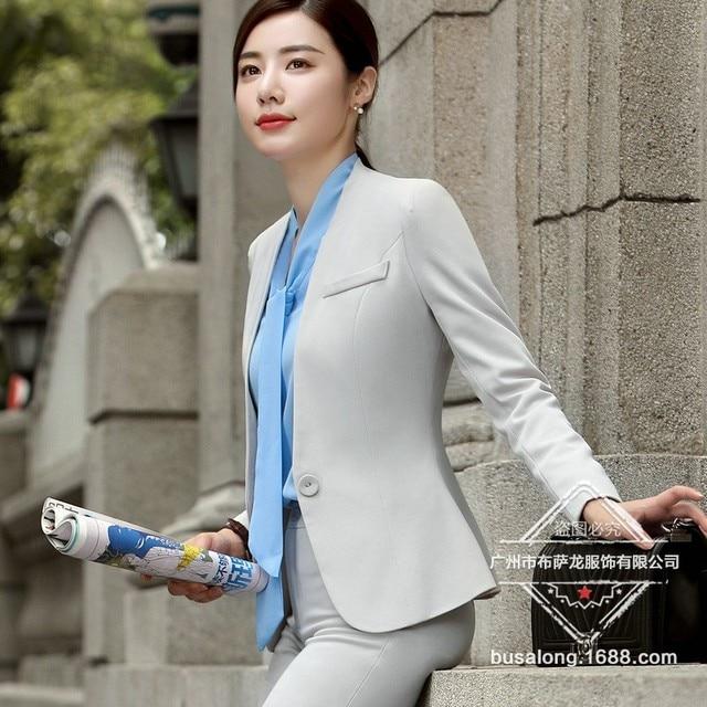 65f0d46e21 Calças de negócios de moda ternos set temperamento Entrevista formal fino  blazer e Calças escritório ladies