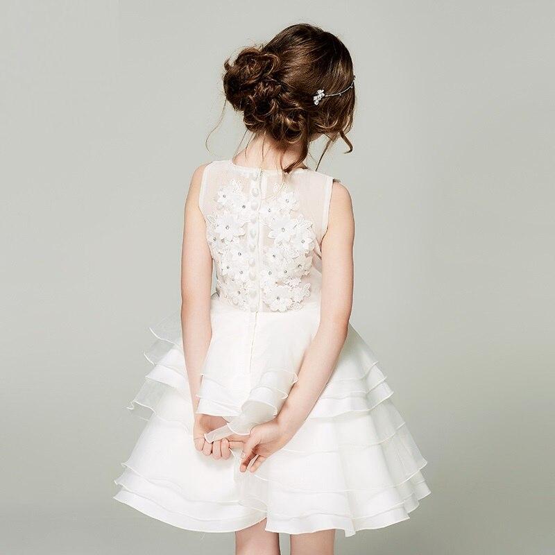 O-neck Appliques Ball Gown Sleeveless Children Lace Dress Flower Girl Wedding Dresses black lace details scoop neck sleeveless dress