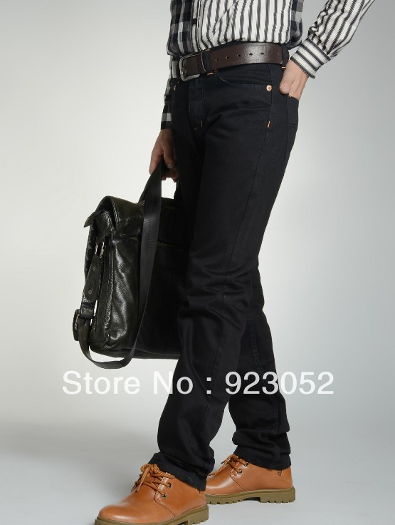 2017 New Fashion Brand Slim Men's Jeans Pencil Pants Black Autumn Trousers straight leg Size 28-36 anne klein new deep black slim leg ponte director women s 2 dress pants $89 361