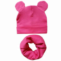 Новая детская шапка с милыми ушками, хлопковая шапка, шарф, комплект, детские шапки для девочек и мальчиков, детская шапка, шарф, воротники