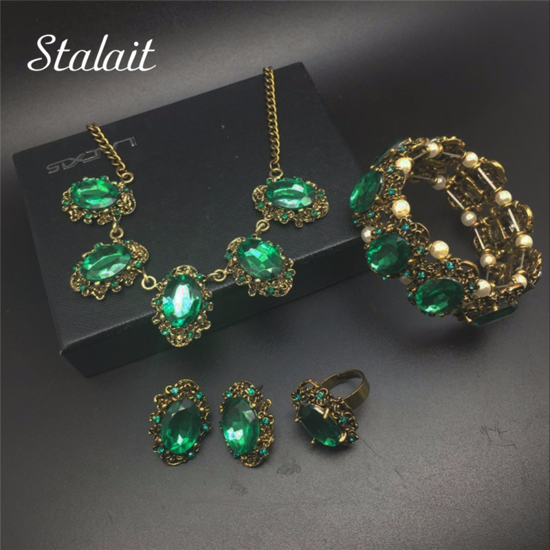 Fashion Crystal Vintage Bronze Color Jewelry Bridal Wedding Kate Princess Necklace Earrings Bracelet Rings Jewelry set
