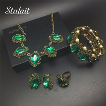 Fashion Crystal Vintage Bronze Plated Jewelry Sets Bridal Wedding Kate Princess Necklace Earrings Bracelet Rings set