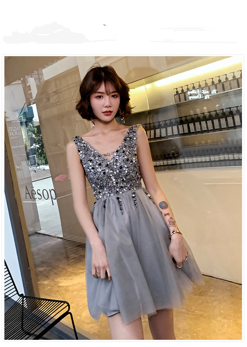 Bling Bling Sequined Gray   Prom     Dresses   Sexy V neck Formal Evening   Dresses   Gown Party   Dress   Special occasion   Dress