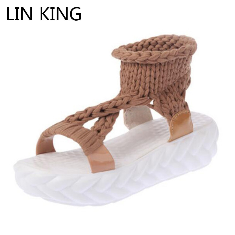 LIN KING Fashion Knit Women Sandals Anti Slip Open Toe Girls Outdoor Platform Shoes Thick Sole Ladies Flats Sandalias Plus Size lin king luxury rhinestone women flats slippers fashion crystal soft sole summer shoes ladies cool outdoor slides big size 42