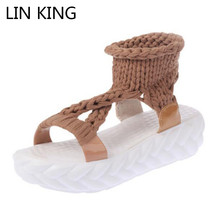Купить с кэшбэком LIN KING Fashion Knit Women Sandals Anti Slip Open Toe Girls Outdoor Platform Shoes Thick Sole Ladies Flats Sandalias Plus Size