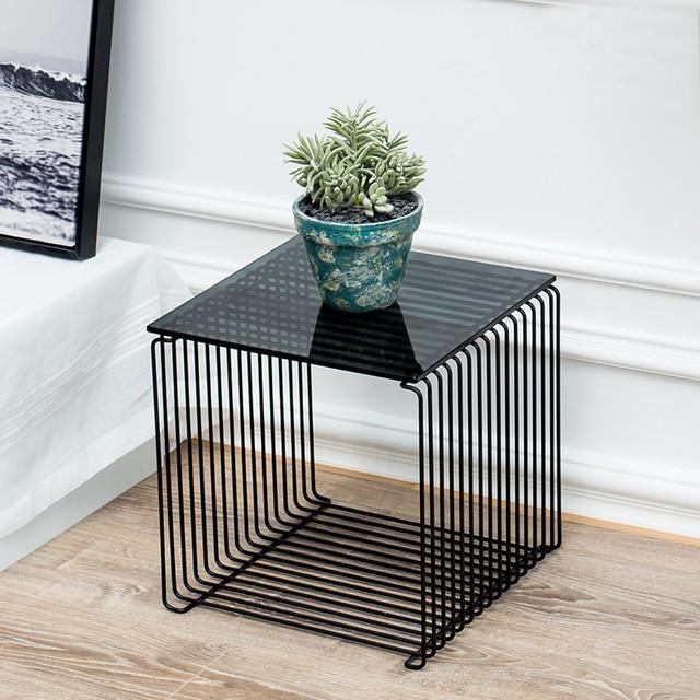 Living Room Side Table Oak Floor Ideas Fashion Modern Design Gold Color Metal Steel Loft Wall Mounted Glass Corner Storage Bedside 1pc