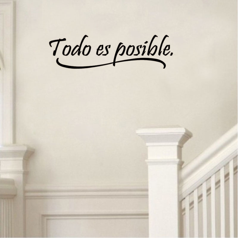 DCTOP Spanish Wall Quotes Words Todo Es Possible Wall Papers Home Decor Vinyl Wall Decals Decorative Stickers