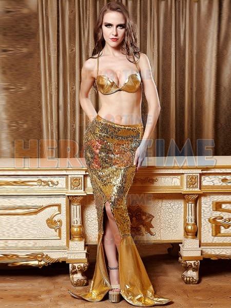 Sexy Gold Mermaid Costume Ariel Adult Womens Fancy Costume
