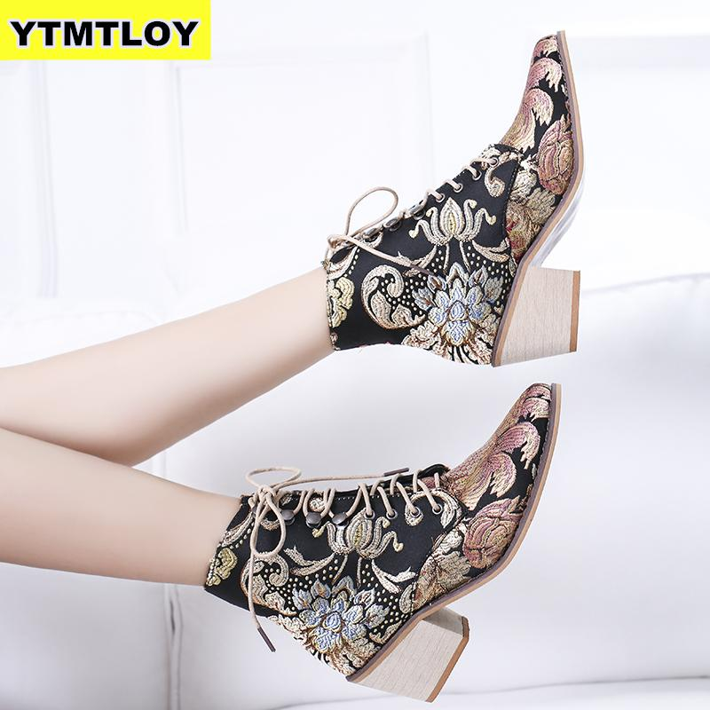 Retro Bohemian Women Boots Printed Ankle Vintage Motorcycle Booties Ladies Shoes Woman 2019 New Embroider  High Heels Boots 1