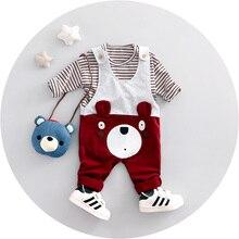 2017 Printemps Nouveau mode bébé garçon vêtements coton matériel o-cou pleine manches globale ours garçons vêtements set A026