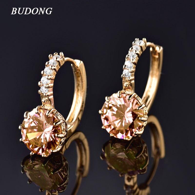 Hot Selling Earring Women 24K Yellow Gold Plated Small Hoop Earrings White Topaz Halka Kupe Ruby Jewelry for Women E006