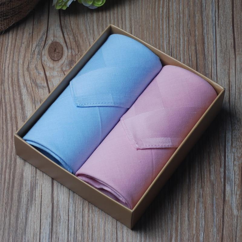 2pcs/set Womens Cotton Handkerchiefs 100% Cotton Sweat Absorbing Solid Color Handkerchiefs for Women 11Items