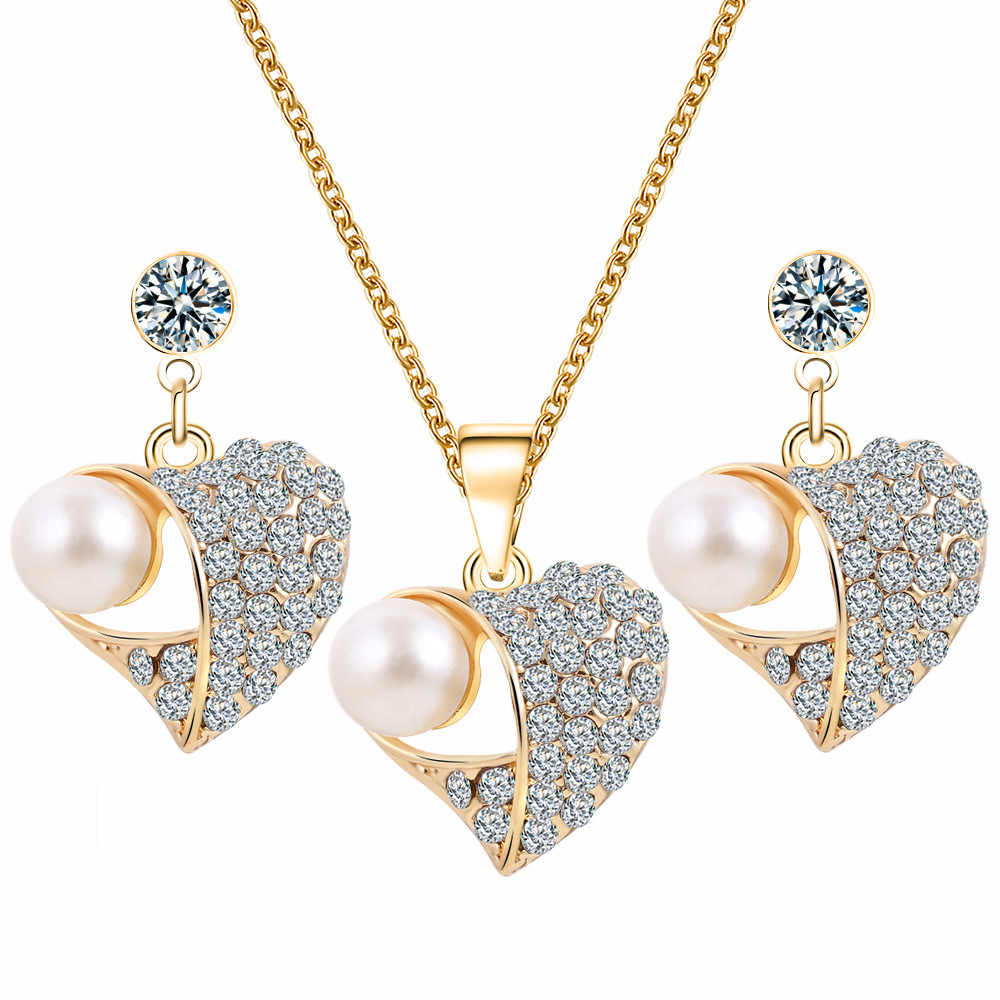 Gold Heart Crystal Pearl Pendant Necklace Earrings Set Women Engagement Wedding Bridal Jewelry Sets Hollow Charm Accessories