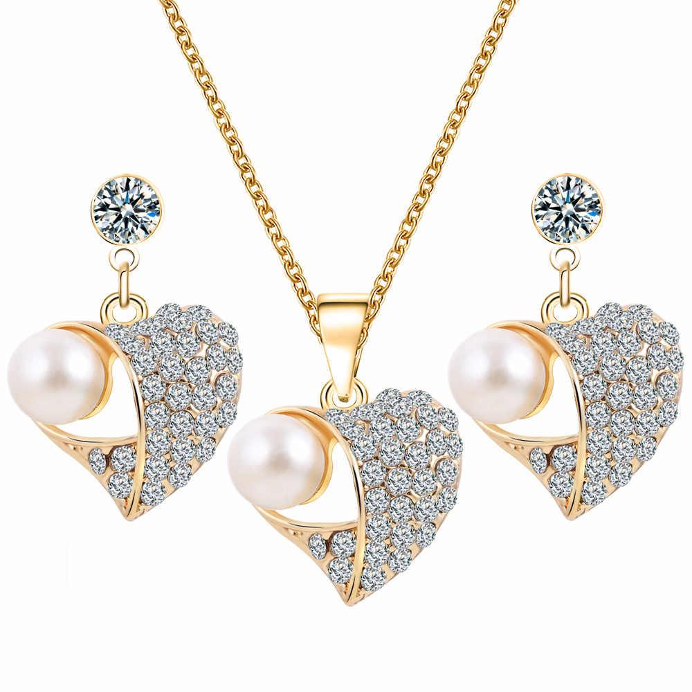 Emas Jantung Kristal Mutiara Liontin Kalung Anting Set Wanita Engagement Wedding Bridal Jewelry Set Berongga Charm Aksesoris
