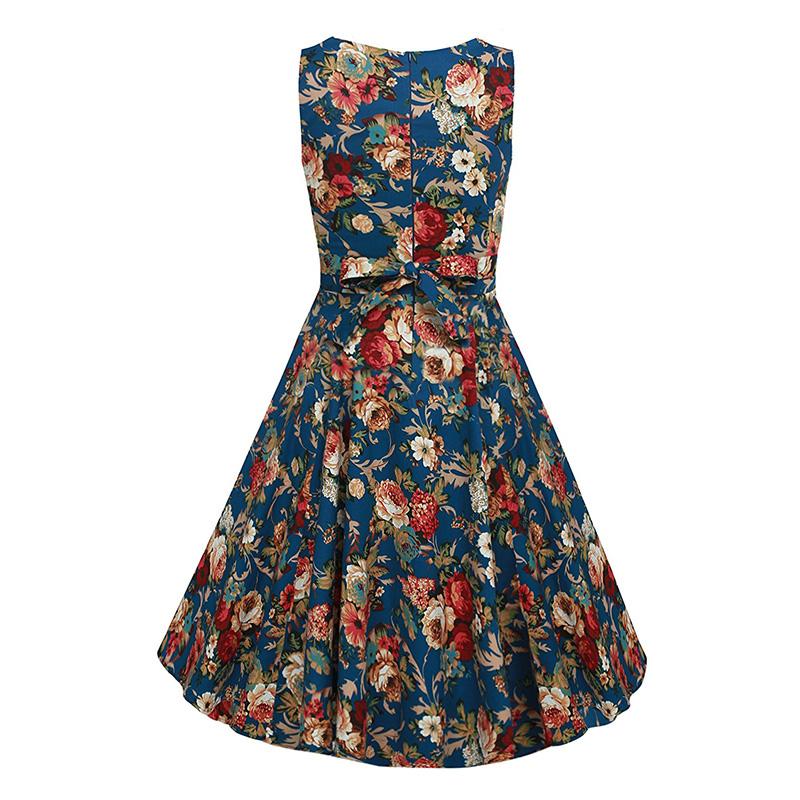 Kostlish Cotton Summer Dress Women 2017 Sleeveless Tunic 50s Vintage Dress Belt Elegant Print Rockabilly Party Dresses Sundress (31)