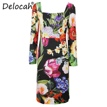Delocah Women Spring Summer Dress Runway Fashion Designer Long Sleeve Flower Printed Elegant Slim Knee-Length A-line Dresses