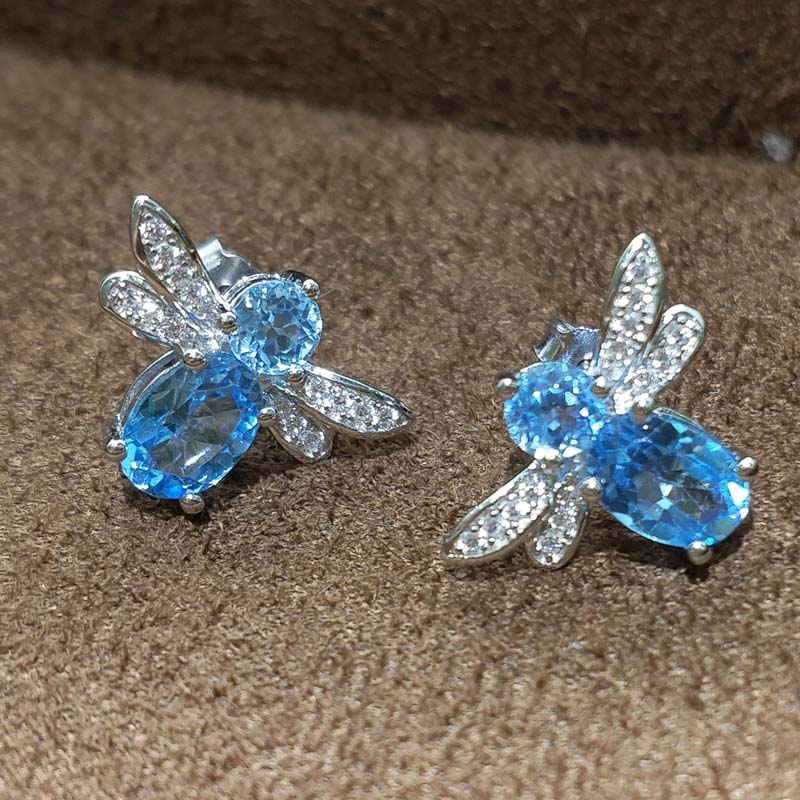FLZB Bee earring perfect quality natural blue topaz earring in 925 sterling silver with 18k white