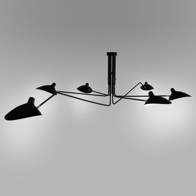 Modern Long Swing Arm Chandelier Adjustable Spider Chandeliers Ceiling Loft Lustre Living Room Bedroom Black Light Fixtures