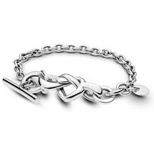Authentic 925 Sterling Silver Bracelet for Women Knotted Heart Bracelet fit Lady fine Jewelry(China)
