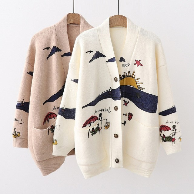 2018 Women Sweaters Embroidery Knit Cardigans Christmas Sweater Women V-Neck Loose Casual Outerwear Long Sweater