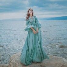 8f3caf79917aa Maxi uzun plaj bandaj elbise yaz buz mavi pamuk ve keten kadın flare kollu  şerit vintage casual boho Bohemian elbise