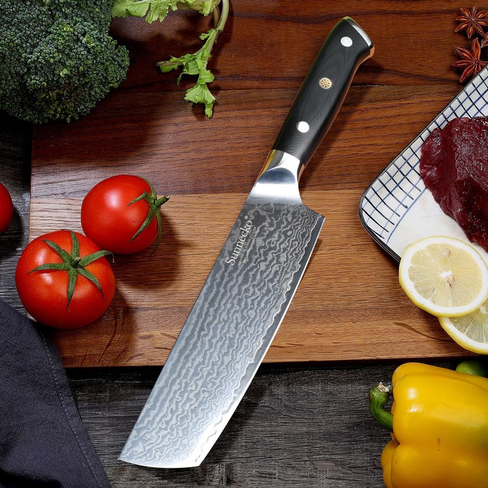 """Ev ve Bahçe'ten Mutfak Bıçakları'de SUNNECKO şef bıçağı 7 """"inç Cleaver Mutfak Bıçakları Japon 73 Katmanlar Şam VG10 Çelik Keskin Bıçak G10 Kolu kesici aletler'da  Grup 3"""