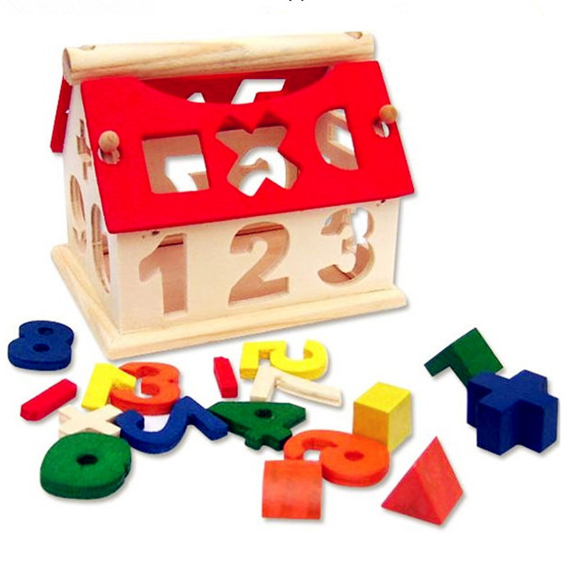 Wooden House Toy Kids Figures Toys Educational Puzzle ...