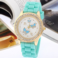 Butterfly Rhinestone women watch Geneva like bling Crystal Diamond Brilliants silicone wristwatch casual dress new