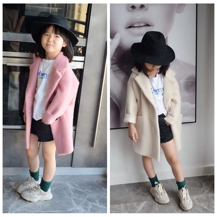 Children's wear 2018 winter new girls' lapel solid color long sweater cardigan fashion coat notch lapel faux flap pocket texture cardigan