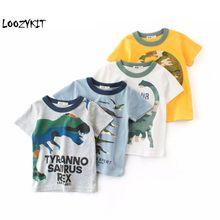 Loozykit/Детская летняя одежда; футболка для маленьких мальчиков; хлопковая футболка с короткими рукавами и рисунком динозавра; Повседневная Спортивная футболка для мальчиков; От 2 до 10 лет футболка
