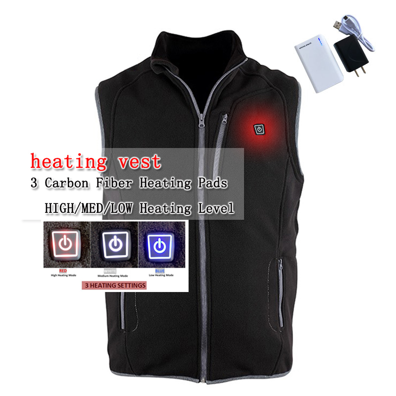 New arrival USB battery heating vest winter men vest charging Fleece vest balck coat to keep the body warm 3 mode size xs-xxl electric heating heated down vest for skiing hiking camping winter men vest keep body warm for women and men with batteries