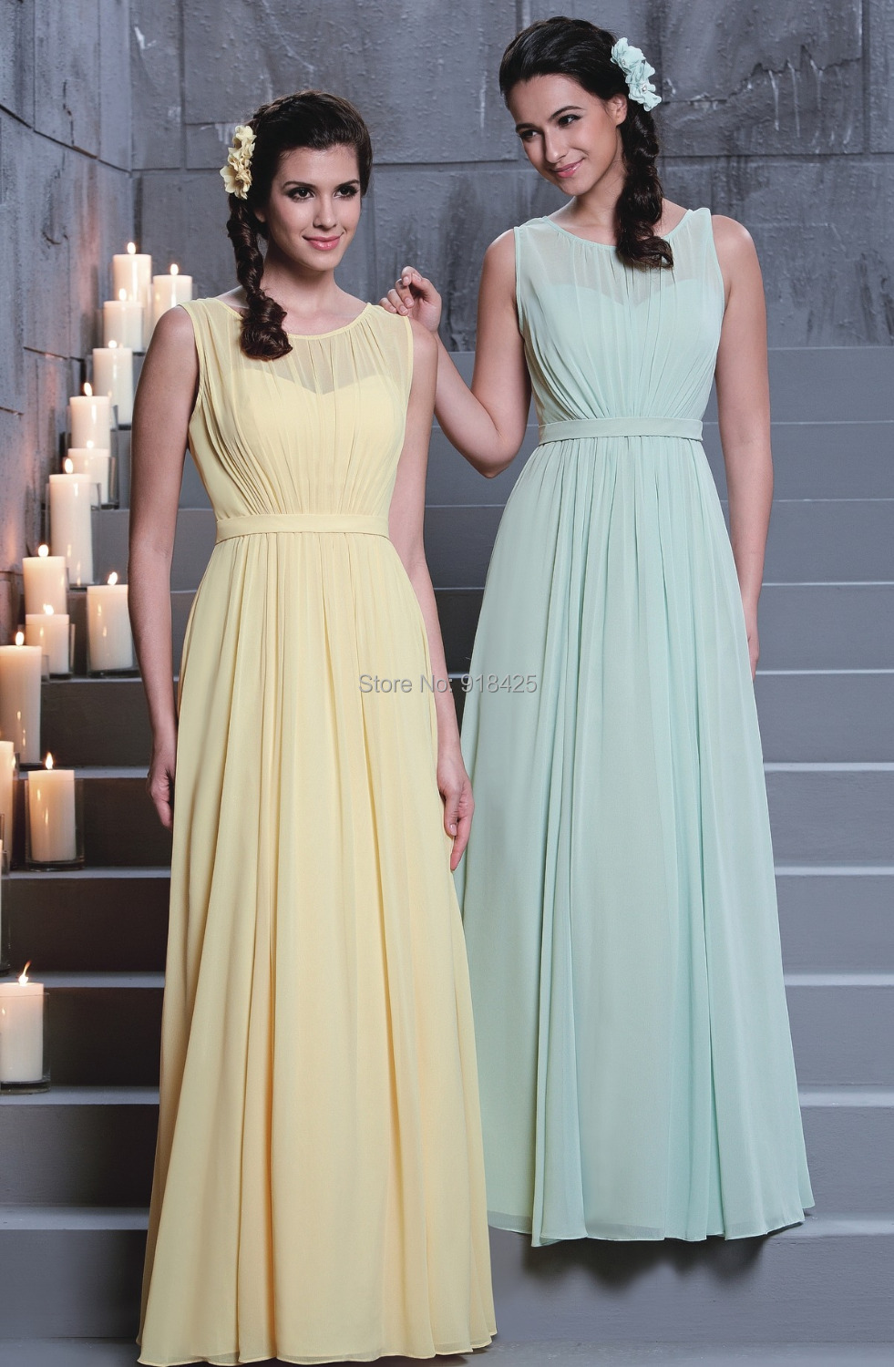 Bridesmaids yellow dresses promotion shop for promotional new arrival illusion neck chiffon long yellowmint green bridesmaid dresses elegant sleeveless for wedding guests mg276 ombrellifo Gallery