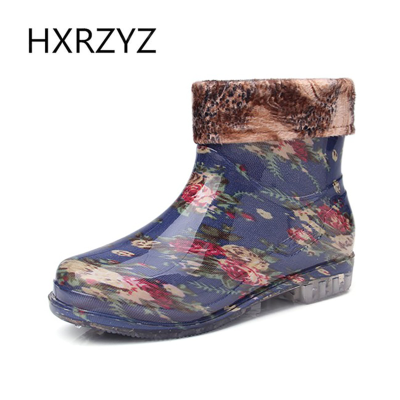 spring new detachable water shoes Female fashion plus velvet warm rain boots Lady and ankle rain shoes Non-slip rubber boots  water shoes spring and autumn woman warm rain shoes and ankle rain boots lady waterproof fashion rubber boots