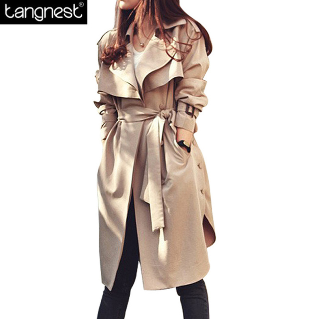 TANGNEST Fashion Solid Loose Trench Coat 2017 Women Side Split Belt Oversize Beige Windbreaker Plus Size Casual Outwear WWF766