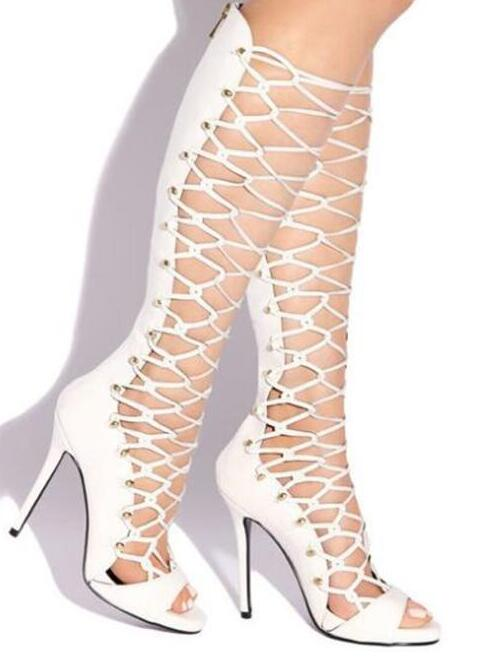 Women Fashion Designer Open Toe Strap Cross Knee High Gladiator Boots Cut-out Long High Heel Sandals Boots Dress Shoes