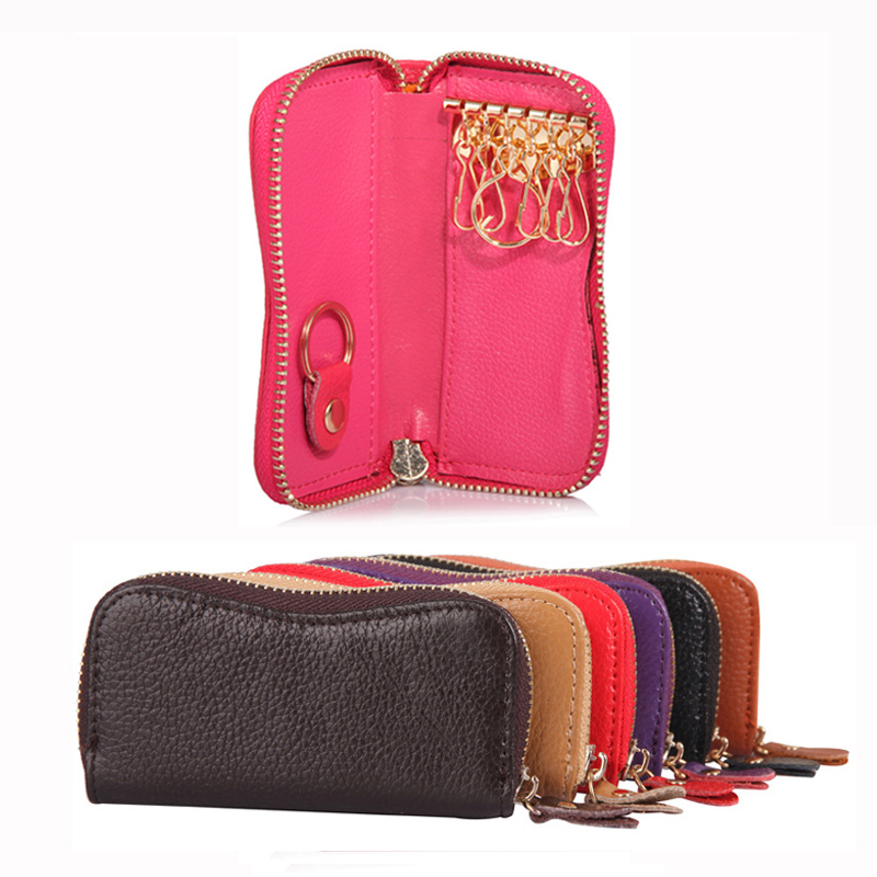 2016 Women Men Leather Hot Sell Key Holders Organizer Fashion Solid Key Wallets Bag Car Housekeeper Holders DC77