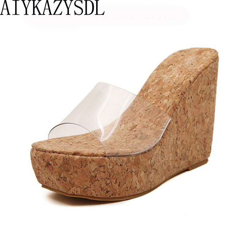 AIYKAZYSDL Sexy Summer Women Clear Transparent Platform Wedges Sandals Ultra High Heels Wooded Mule Silde Shoes Outdoor Creepers aiykazysdl sexy 2018 women sandals