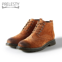 Prelesty Big Size 38 47 Brand High Quality Vintage Men Winter Warm High Top Men Boots Brogue Ankle Motorcycle Boots Classic
