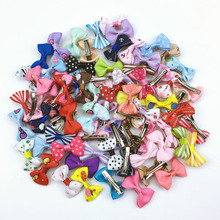 (100 pieces/lot) Cute Handmade Pet Hair Grooming Accessories 73 Colors Boutique Ribbon Dog Cat Hair Bows With Metal Clips