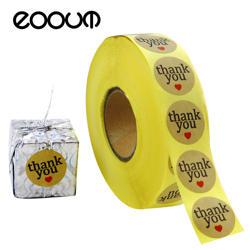 EOOUT 1000pcs 2.5cm Round  Thank You Sticker Craft Paper Thank You Label with Red Heart Shape, Decorative Sealing Stickers