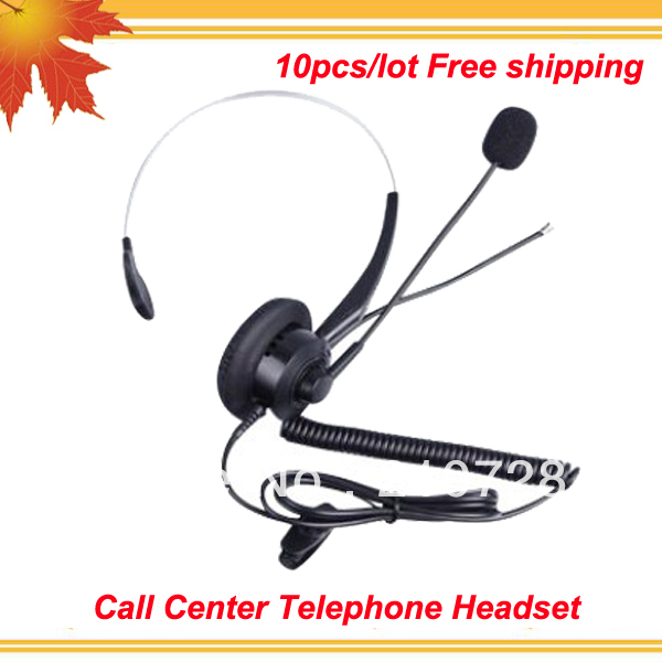 Call center handsfree headset call center telephone headset anti-noise customer service earphones 10pcs/lot free shipping free