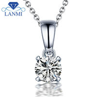 Elegant 18K White Gold Diamond Necklace Pendant VS Clarity D E Color For Women Wedding Party
