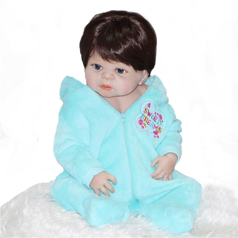 "22"" girl boy bebe doll reborn full body silicone vinyl reborn babies children bath doll toys realista alive reborn bonecas"