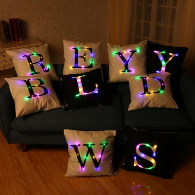 hot sale letters 26 printing christmas led lights lit pillow cushions velvet pillowcase creative